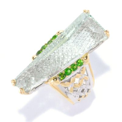 127-915 - Gems en Vogue II 10.15ctw Fancy Cut Prasiolite & Chrome Diopside Ring