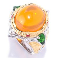 SS/PALL RING FIRE OPAL CABOCHON & CHROME DIOP