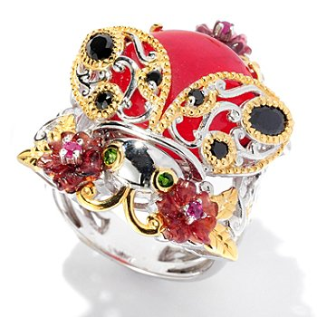 127-917 - Gems en Vogue II 14mm Red Quartz & Multi Gemstone Ladybug Ring