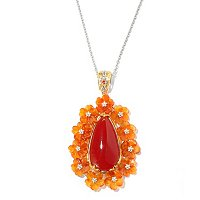 "SS/PALL PEND CARNELIAN TEARDROP & CARVED FLOWER w/ 18"" CHAIN"