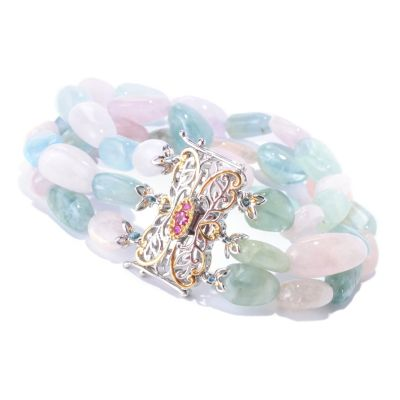 127-921 - Gems en Vogue II Three-Row Beryl Bead, Tourmaline & Sapphire Bracelet