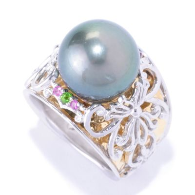 127-924 - Gems en Vogue II 12mm Cultured Tahitian Pearl and Multi Gemstone Ring