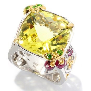 127-925 - Gems en Vogue II 11.07ctw Ouro Verde and Multi Gemstone ''Cherry Limeade'' Cocktail Ring