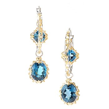 127-927 - Gems en Vogue II 2'' 14.54ctw London Blue Topaz Drop Hoop Earrings