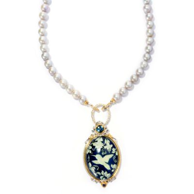 "127-928 - Gems en Vogue II 20"" Freshwater Cultured Pearl and Carved Amber Intaglio"