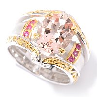 SS/PALL RING 10x8MM MORGANITE & PINK SAPH