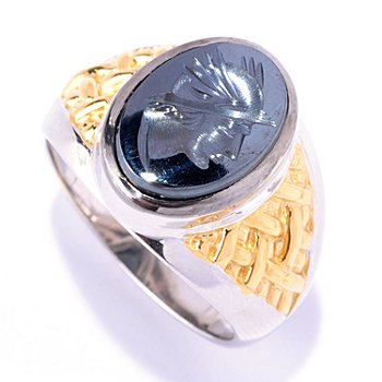 127-938 - Men's en Vogue II 14 x 10mm Hematite Hand Carved Knight's Head Ring