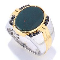 MEN'S - SS/PALL RING BLOODSTONE & BLK SPINEL