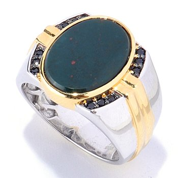 127-939 - Men's en Vogue II 16 x 12mm Bloodstone & Black Spinel Ring