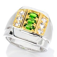 MEN'S - SS/PALL RING CHROME DIOPSIDE & WHT TOPAZ