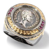MEN'S - SS/PALL RING COIN & RUBY