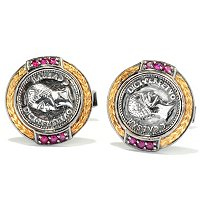 MEN'S - SS/PALL CUFF LINKS COIN & RUBY PAIR