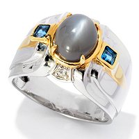 MEN'S - SS/PALL RING GREY MOONSTONE & LONDON BLUE TOPAZ