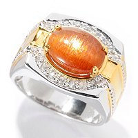 MEN'S - SS/PALL RING 11x9mm CAT'S EYE SUNSTONE & WHT SAPH