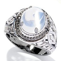 MEN'S - SS/PALL RING SIBERIAN CAT'S EYE WHITE MOONSTONE & BLK DIAMOND