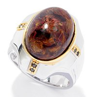 MEN'S - SS/PALL RING PIETERSITE & BLACK SPINEL