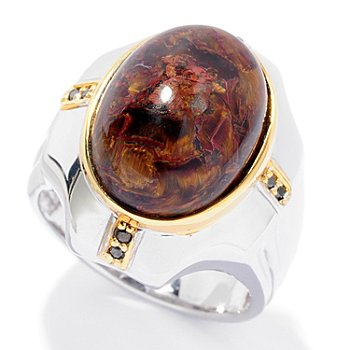 127-951 - Men's en Vogue II 18 x 13mm Pietersite & Black Diamond Ring