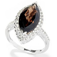 SS MARQUISE SHAPED SMOKY QUARTZ RING W/ WHITE TOPAZ ACCENTS