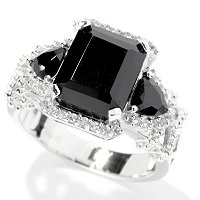 SS BLACK SPINEL 3 STONE RING W/ WHITE TOPAZ