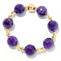 SS/18KGP BRAC ROUND AMETHYST & POLISHED SPACERS w/ MAGNETIC CLASP - 8""