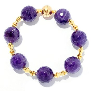 127-959 - Portofino Gold Embraced™ 8'' 16mm Round Amethyst & Spacers Bracelet
