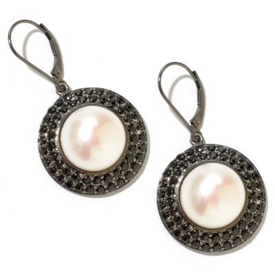 127-962 - Sterling Silver 14-15mm White Freshwater Cultured Pearl & Spinel Earrings