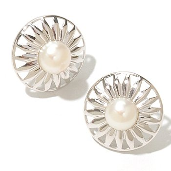 127-965 - Sterling Silver 7-8mm White Button Freshwater Cultured Pearl Star Earrings