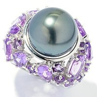 SS 13-13.5mm TAHITIAN PEARL & AMY RING