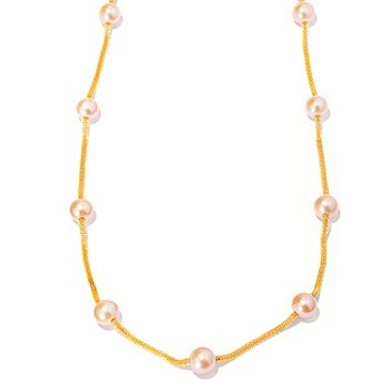 127-968 - Stainless Steel 36'' 9.5-10mm Freshwater Cultured Pearl Station Necklace