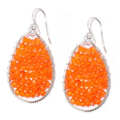 127-970 - Sterling Silver Oval Shaped Carnelian Bead Rising Sun Earrings