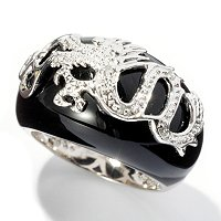 SS BLACK ONYX DRAGON RING