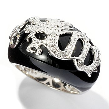 127-972 - Sterling Silver Black Onyx & Diamond Chinese Dragon Ring