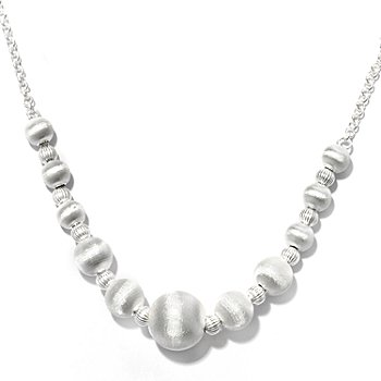 127-982 - SempreSilver™ 18'' Satin Finished Graduated Bead Necklace