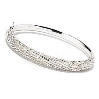 SS POLISHED W/DIAMOND CUT BEADS HINGED BANGLE
