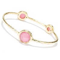 14K ORO VITA ELECTROFORM 3-STONE BANGLE
