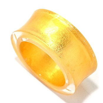 128-002 - Italian Designs with Stefano 24K ''Oro Puro'' Gold Foil & Resin Concave Ring