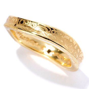 128-005 - Italian Designs with Stefano 14K ''Oro Vita'' Electroform Mini Wave Ring