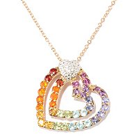 "SS/P PEND EXOTIC RAINBOW & WHITE ZIRCON HEART w/ 18"" CHAIN"