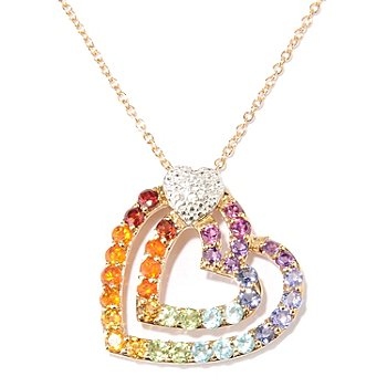 128-016 - NYC II 1.88ctw Multi Gemstone Rainbow Heart Pendant w/ Chain