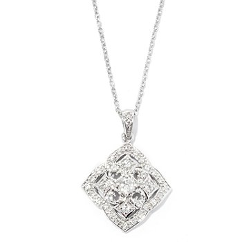128-017 - NYC II White Zircon Diamond Shaped Cross Pendant w/ 18'' Chain