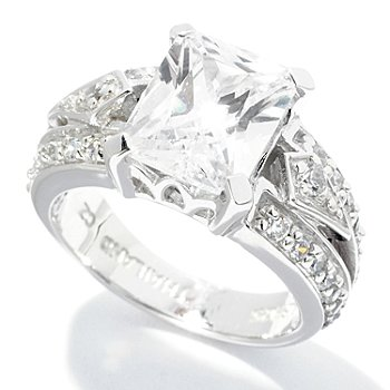 128-020 - Brilliante® Platinum Embraced™ 3.97 DEW Round & Rectangular Simulated Diamond Bold Ring