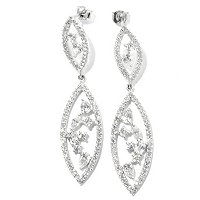 BRIL SS/PLAT MULTI-CUT MARQUISE SHAPE DROP EARRINGS