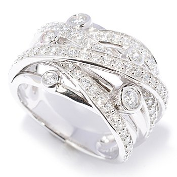 128-026 - Sonia Bitton for Brilliante® 1.48 DEW Round Cut Pave & Bezel Set Woven Ring