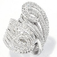 SB SS/PLAT ROUND CUT ELONGATED SWIRL RING