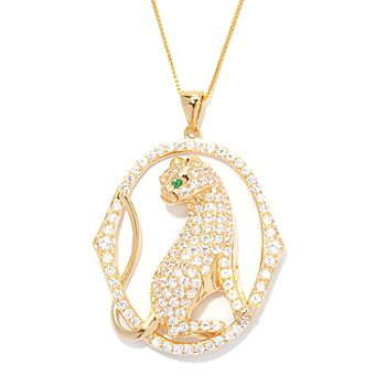 128-029 - Sonia Bitton for Brilliante® 4.50 DEW Panther Pendant w/ Chain