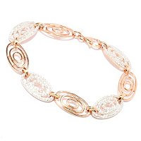 SB SS/18KRGP ROUND CUT AND POLISHED OVAL LINK BRACELET