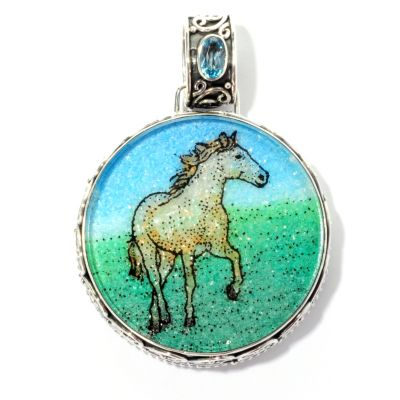 128-048 - Artisan Silver by Samuel B. Swiss Blue Topaz & Crushed Multi Gemstone Pendant