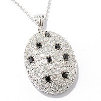 SS PAVE PEND WHITE ZIRCON WITH BLACK SPINEL SCATTERED STONES