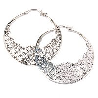 SS FLORAL HOOP EARRINGS