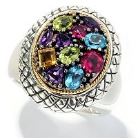 SS/18K MULTI GEM OVAL RING